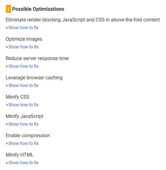 Google PageSpeed Insights Recommendations
