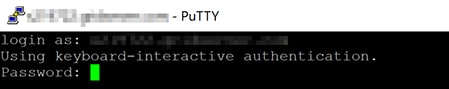 Screenshot of PuTTY: Password